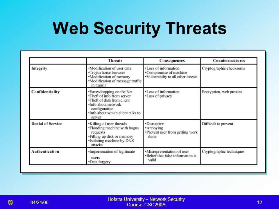 04/24/06 Hofstra University – Network Security Course, CSC290A 12 Web Security Threats