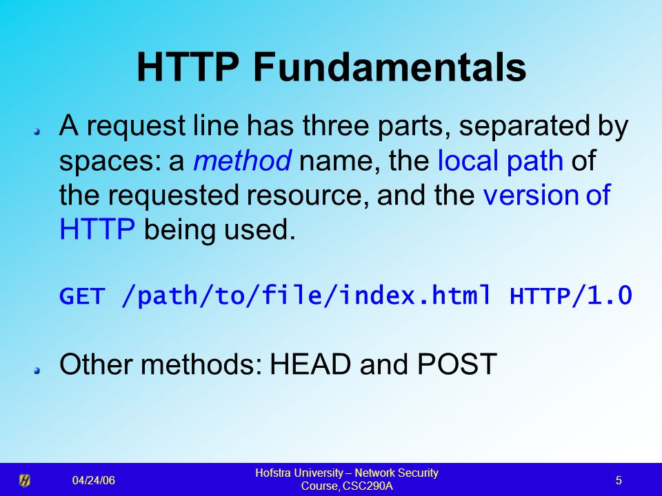 04/24/06 Hofstra University – Network Security Course, CSC290A 6 HTML Fundamentals An important heading A slightly less important heading This is the first paragraph.