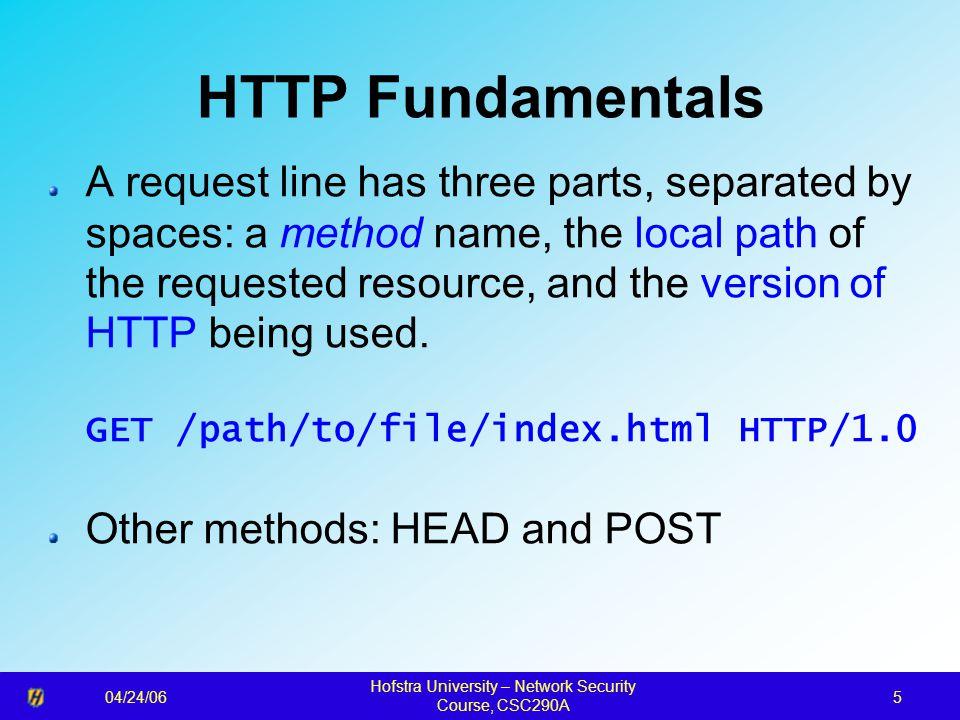 04/24/06 Hofstra University – Network Security Course, CSC290A 36 Handshake Protocol Action Phase 1 Phase 2 Phase 3 Phase 4