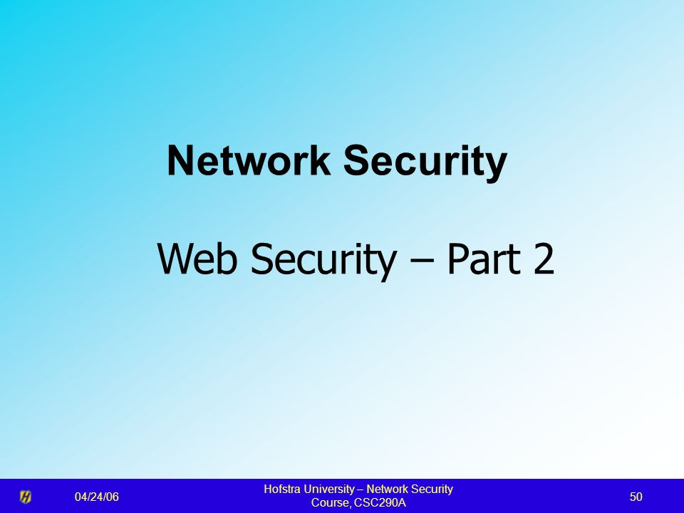 04/24/06 Hofstra University – Network Security Course, CSC290A 50 Network Security Web Security – Part 2