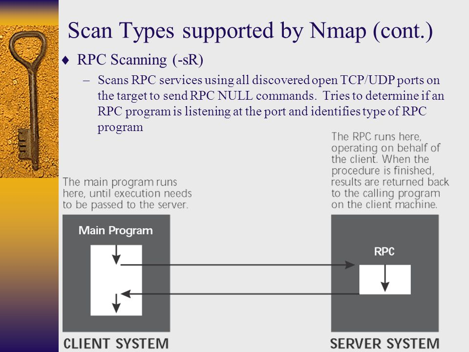 Scan Types supported by Nmap (cont.)  RPC Scanning (-sR) –Scans RPC services using all discovered open TCP/UDP ports on the target to send RPC NULL c