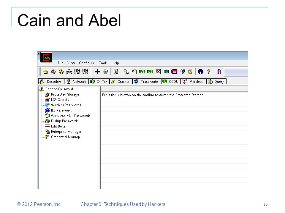 Cain and Abel © 2012 Pearson, Inc. Chapter 6 Techniques Used by Hackers 13