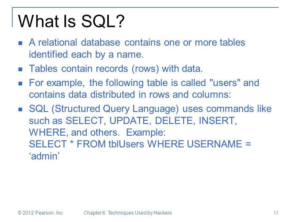 What Is SQL? A relational database contains one or more tables identified each by a name. Tables contain records (rows) with data. For example, the fo
