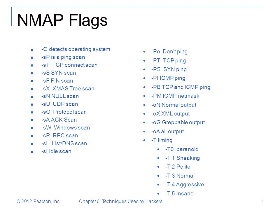 NMAP Flags -O detects operating system -sP is a ping scan -sT TCP connect scan -sS SYN scan -sF FIN scan -sX XMAS Tree scan -sN NULL scan -sU UDP scan