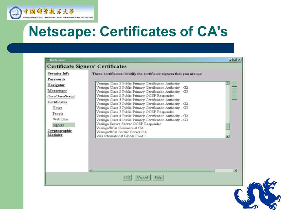Netscape: Certificates of CA's