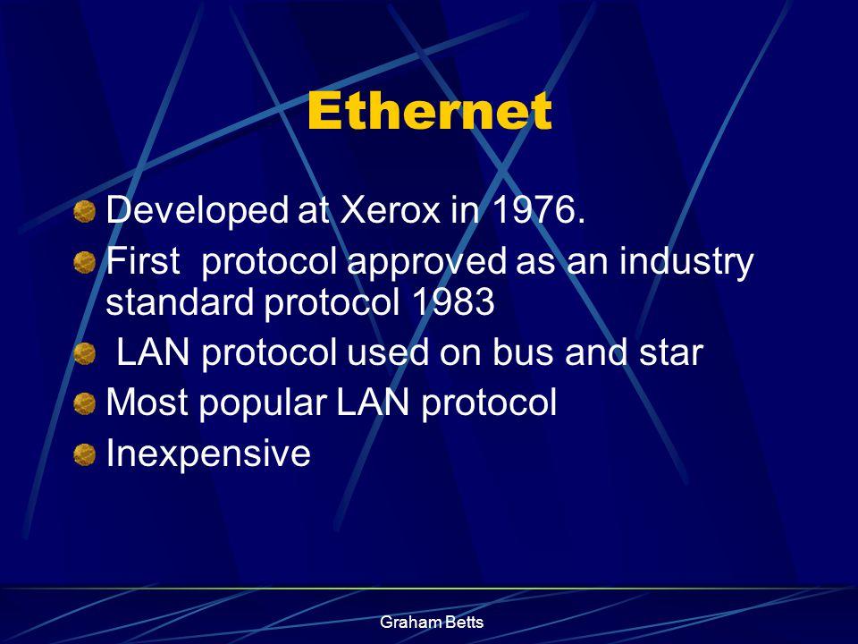 Graham Betts Ethernet (Ethernet Network) -Carrier Sense Multiple Access/Collision Detection (CSMA/CD) -TCP/IP 3 Common Protocols
