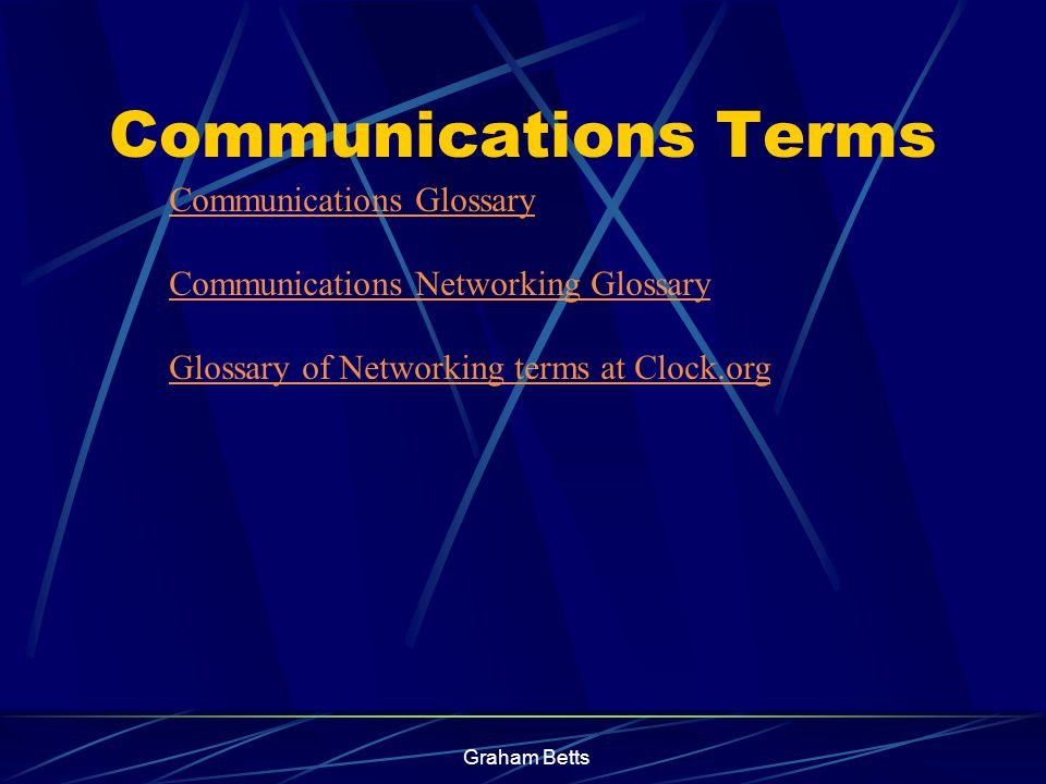Graham Betts TOPICS MENU Characteristics of Communication Systems Examples of Communication Systems Transmitting and Receiving Other Information Processes Issues Related To Communication Systems Click on the topic of your choice