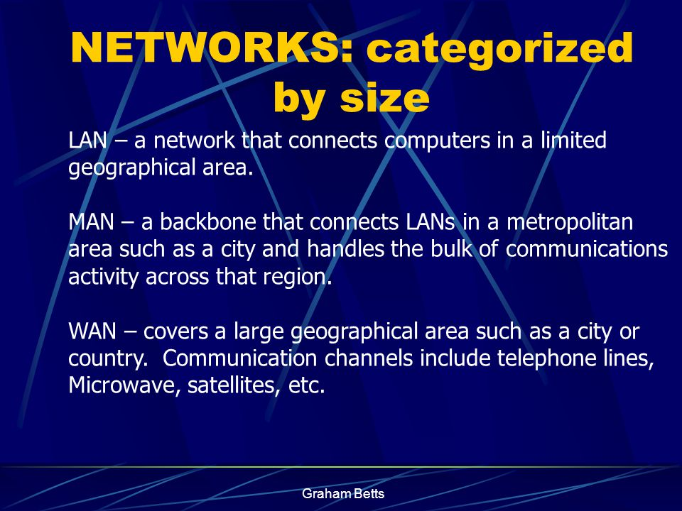Graham Betts A network is a number of computers and peripheral devices connected together so as to be able to communicate (i.e. transfer data) Each de