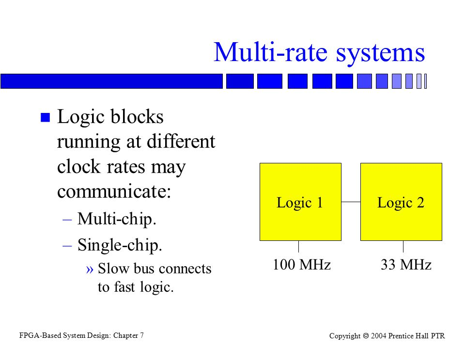 FPGA-Based System Design: Chapter 7 Copyright  2004 Prentice Hall PTR Multi-rate systems n Logic blocks running at different clock rates may communicate: –Multi-chip.