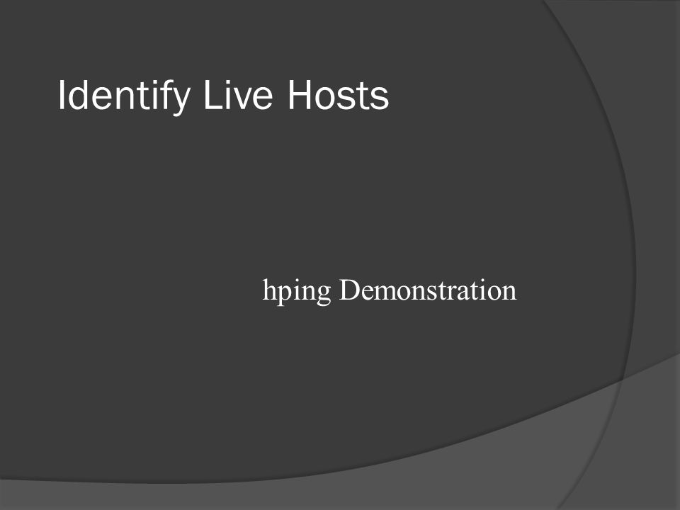 Identify Live Hosts traceroute Demonstration
