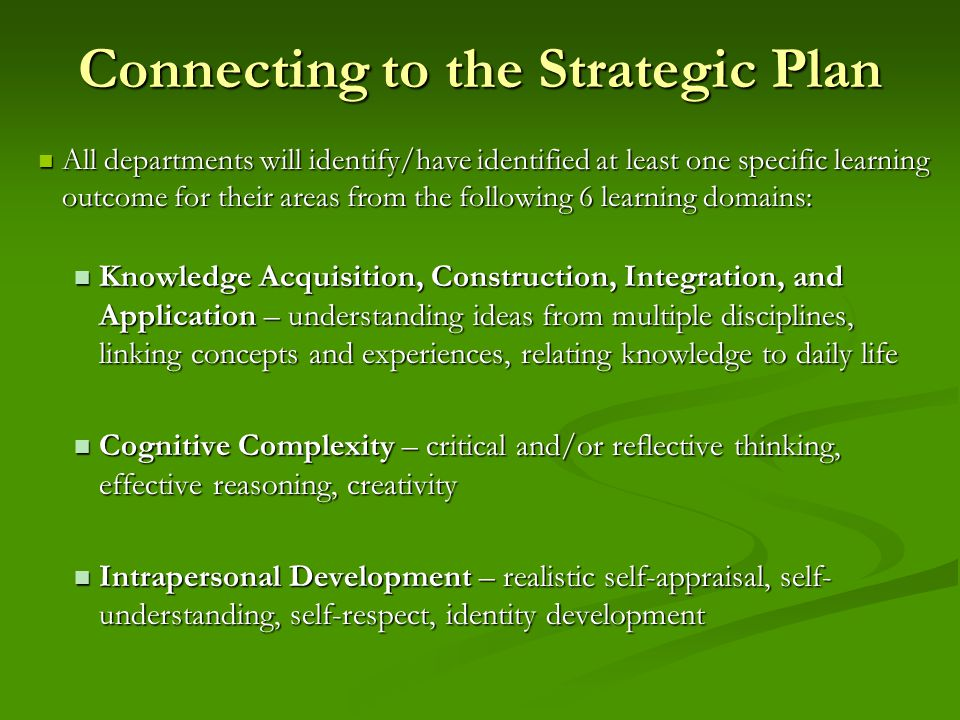 Connecting to the Strategic Plan All departments will identify/have identified at least one specific learning outcome for their areas from the following 6 learning domains: All departments will identify/have identified at least one specific learning outcome for their areas from the following 6 learning domains: Knowledge Acquisition, Construction, Integration, and Application – understanding ideas from multiple disciplines, linking concepts and experiences, relating knowledge to daily life Knowledge Acquisition, Construction, Integration, and Application – understanding ideas from multiple disciplines, linking concepts and experiences, relating knowledge to daily life Cognitive Complexity – critical and/or reflective thinking, effective reasoning, creativity Cognitive Complexity – critical and/or reflective thinking, effective reasoning, creativity Intrapersonal Development – realistic self-appraisal, self- understanding, self-respect, identity development Intrapersonal Development – realistic self-appraisal, self- understanding, self-respect, identity development