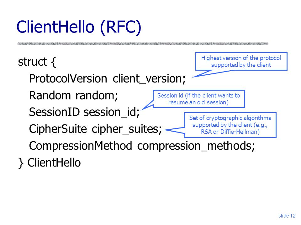 slide 12 struct { ProtocolVersion client_version; Random random; SessionID session_id; CipherSuite cipher_suites; CompressionMethod compression_method