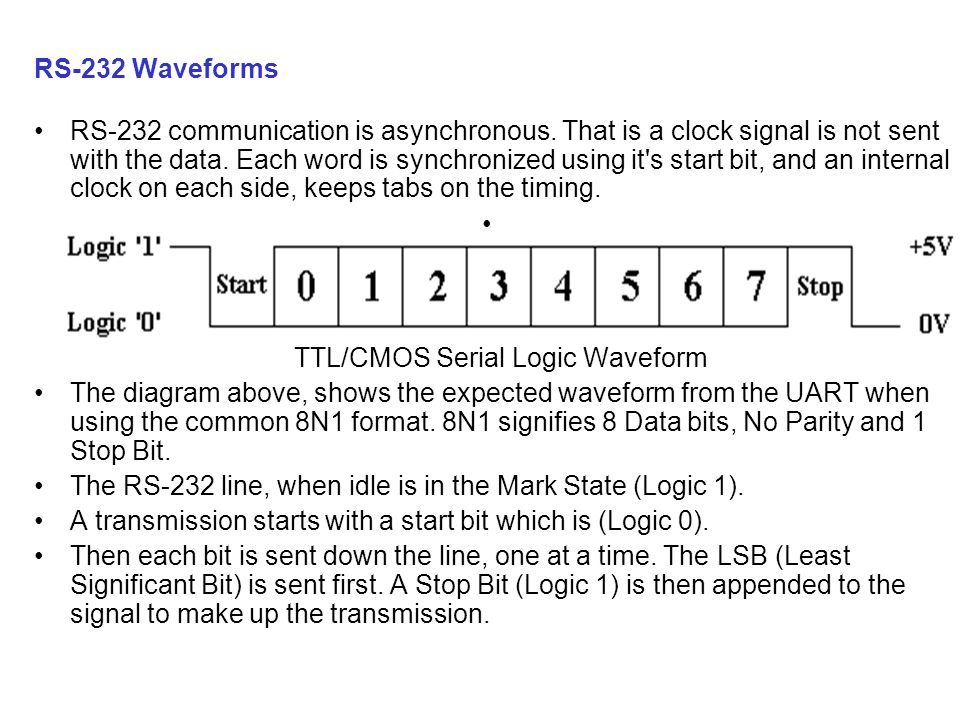 RS-232 communication is asynchronous. That is a clock signal is not sent with the data.