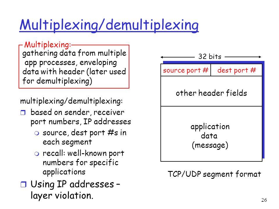 26 Multiplexing/demultiplexing multiplexing/demultiplexing: r based on sender, receiver port numbers, IP addresses m source, dest port #s in each segm