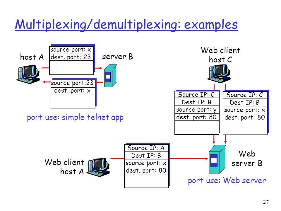 27 Multiplexing/demultiplexing: examples host A server B source port: x dest. port: 23 source port:23 dest. port: x port use: simple telnet app Web cl