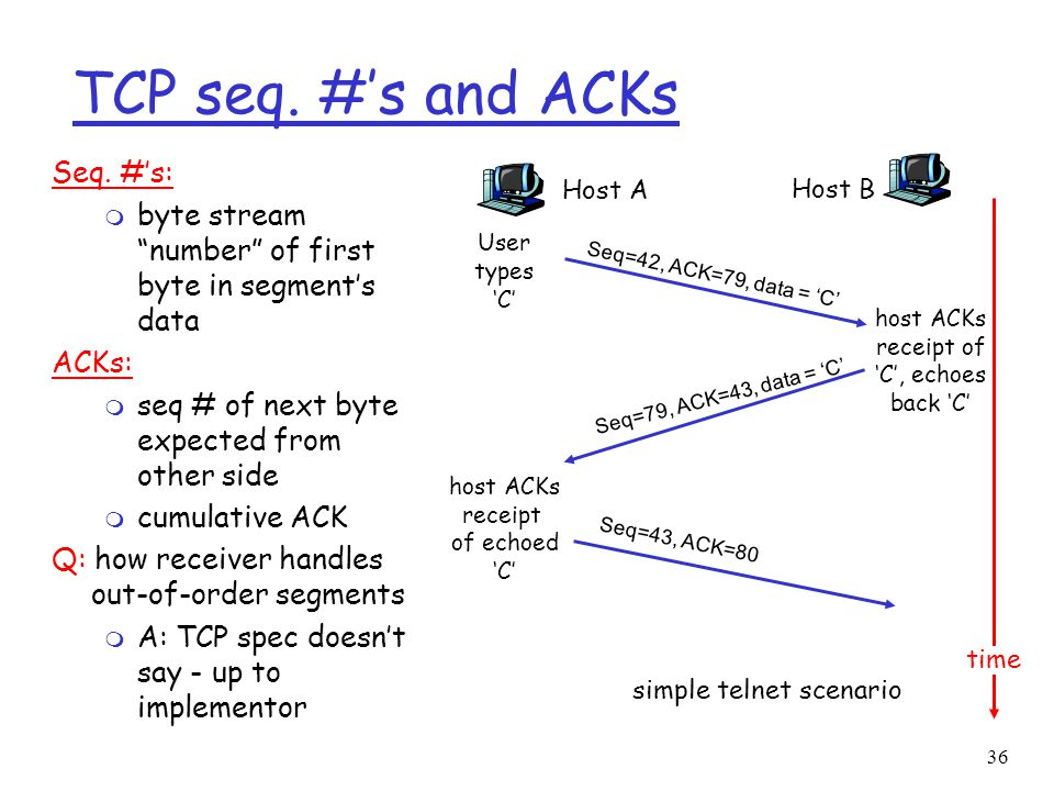 """36 TCP seq. #'s and ACKs Seq. #'s: m byte stream """"number"""" of first byte in segment's data ACKs: m seq # of next byte expected from other side m cumula"""