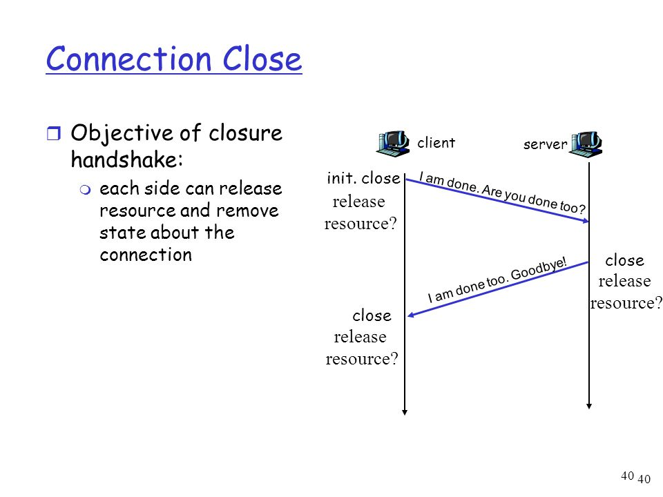 40 Connection Close r Objective of closure handshake: m each side can release resource and remove state about the connection client I am done. Are you