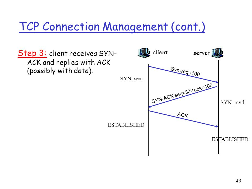 46 TCP Connection Management (cont.) Step 3: client receives SYN- ACK and replies with ACK (possibly with data). client Syn seq=100 server SYN-ACK seq