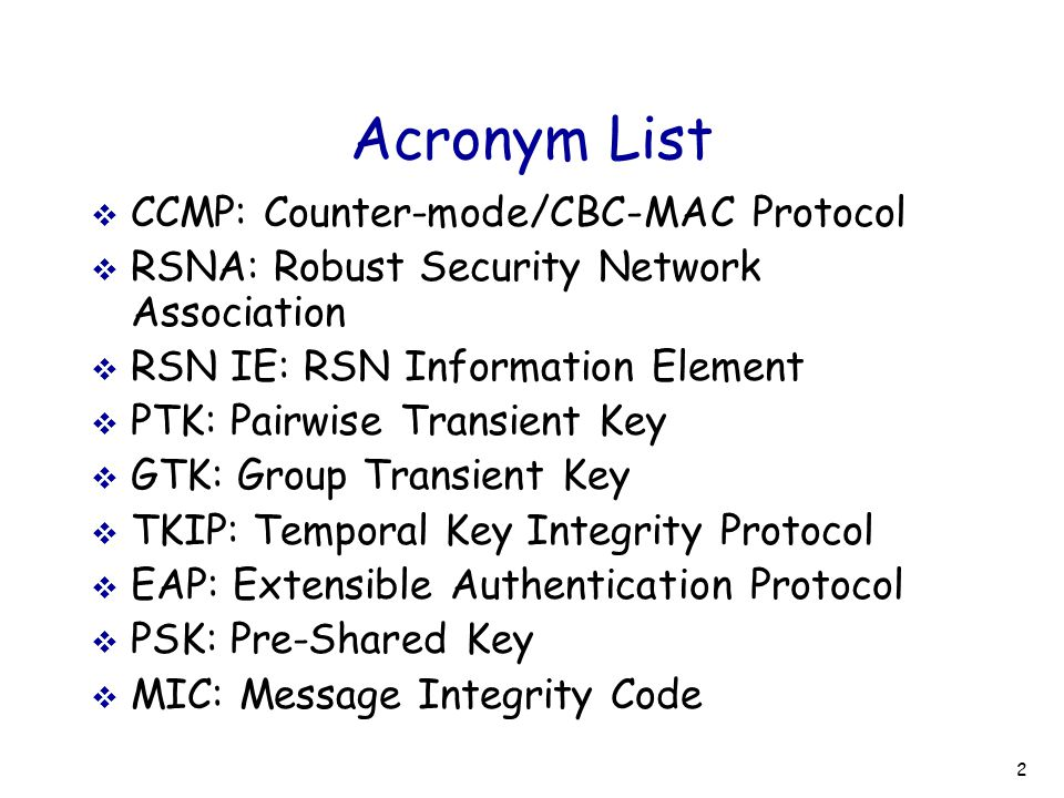 23 RSN IE Poisoning: Solutions  Easy to launch the attack  Legitimate participants unaware of it  Continue message exchanges, waste resources  Adversary have more time to repeat the attack  Solutions  Authenticate management frames Difficult to authenticate Beacon and Probe Response frame  Confirm RSN IE as soon as possible (EAP-TLS) Necessary modifications on the standard  Relax the condition of RSN IE confirmation Ignore insignificant bits, only confirm authentication suite If authentication suite modified, probably error at the beginning of associations
