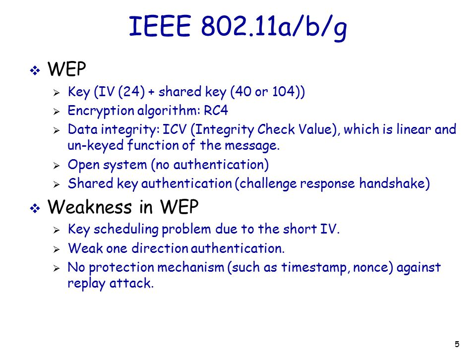 6 WPA: a interim solution  WPA (Wi-Fi protected Access)  Data integrity: TKIP (Temporal Key Integrity Protocol) using key mixing function and IV space extension.