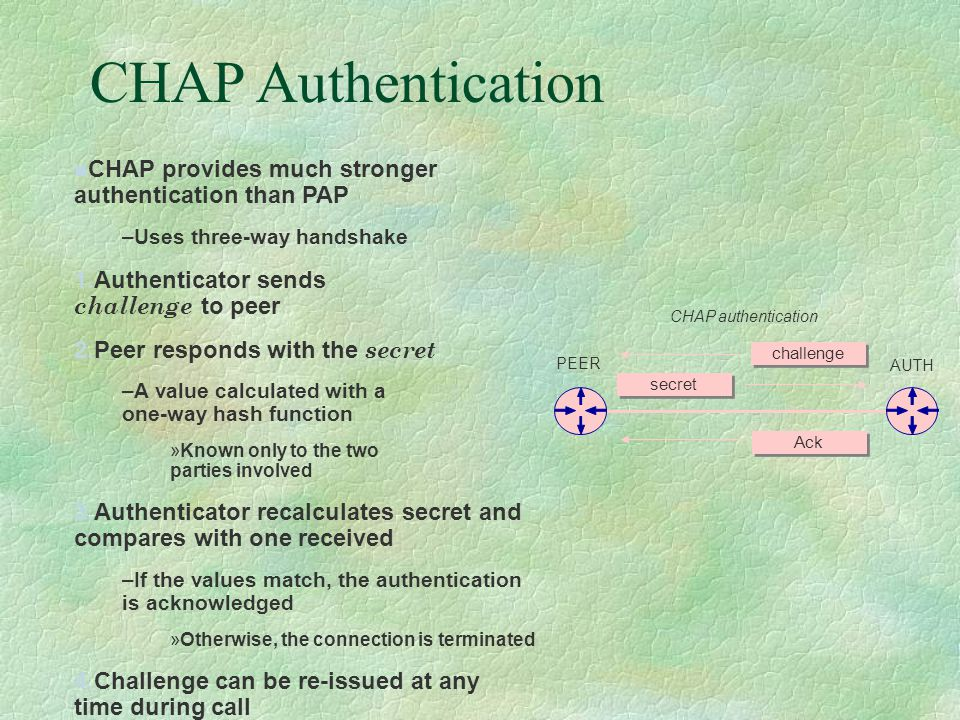 CHAP Authentication CHAP provides much stronger authentication than PAP –Uses three-way handshake 1.Authenticator sends challenge to peer 2.Peer responds with the secret –A value calculated with a one-way hash function »Known only to the two parties involved 3.Authenticator recalculates secret and compares with one received –If the values match, the authentication is acknowledged »Otherwise, the connection is terminated 4.Challenge can be re-issued at any time during call Ack CHAP authentication PEER AUTH secret challenge