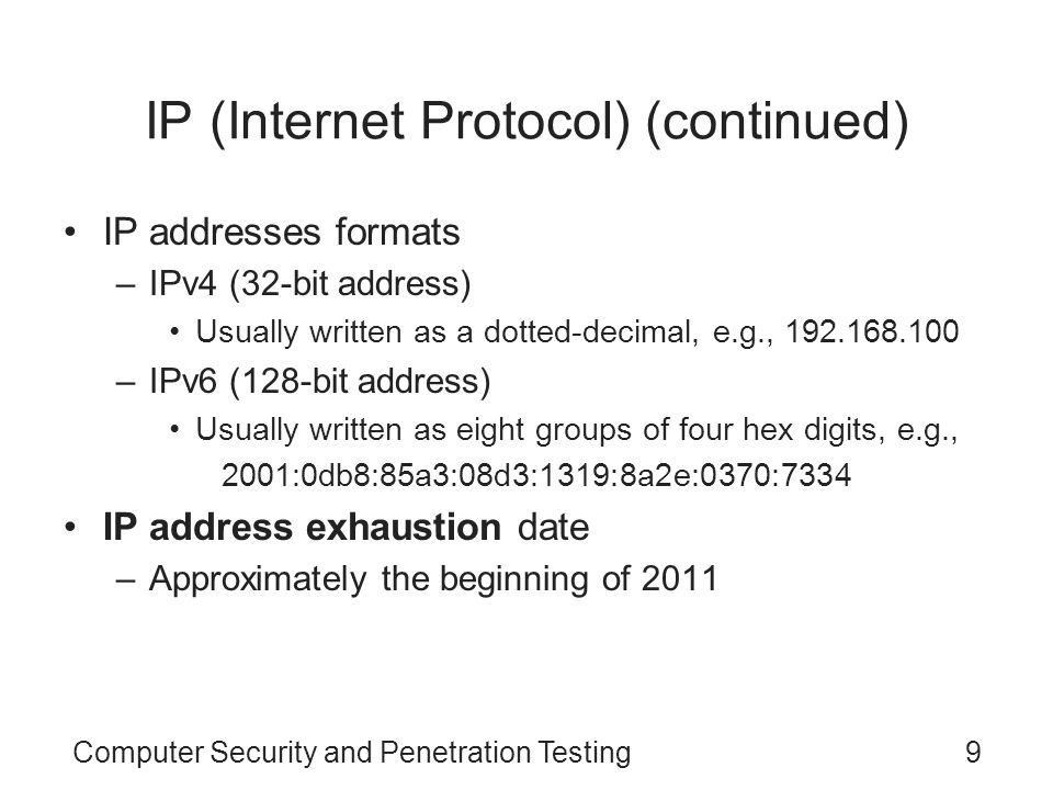 Computer Security and Penetration Testing30 ICMP Attacks Packets are used to send fraudulent or deceptive connection information among computers ICMP is used to test for connectivity using utilities such as the ping command Denial-of-service (DoS) attacks can be formulated by using ICMP packets –Destination Unreachable and Time to Live Exceeded Attackers transmitting spoofed packets can successfully reset existing connections