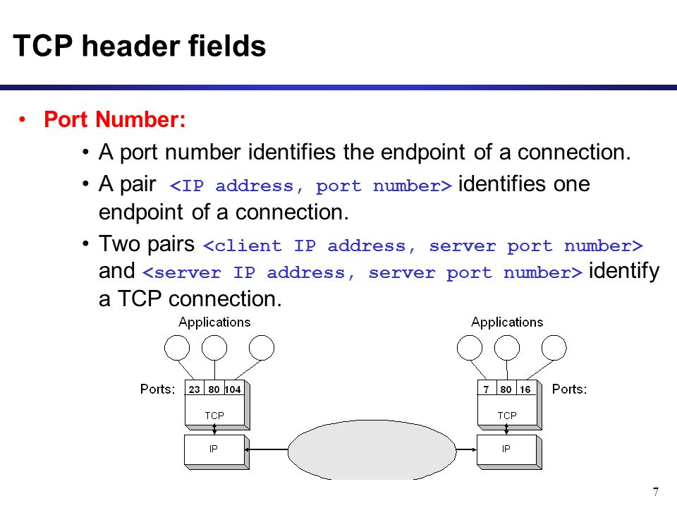 7 TCP header fields Port Number: A port number identifies the endpoint of a connection. A pair identifies one endpoint of a connection. Two pairs and