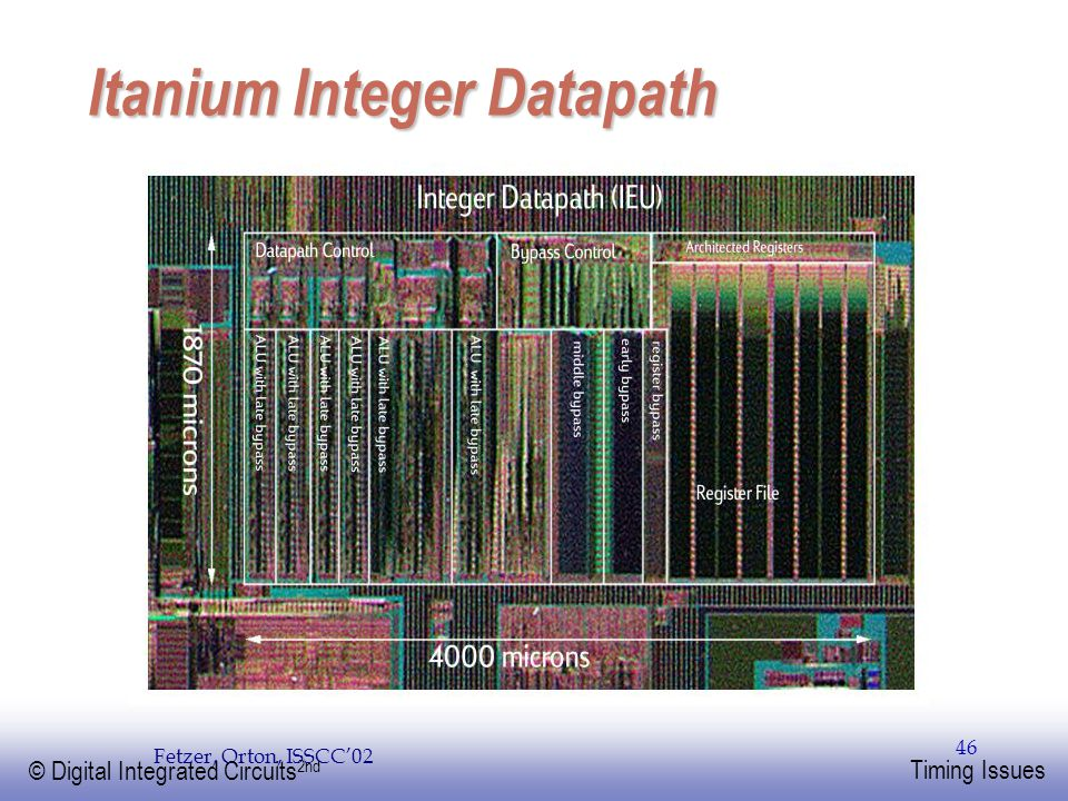 EE141 © Digital Integrated Circuits 2nd Timing Issues 46 Itanium Integer Datapath Fetzer, Orton, ISSCC'02