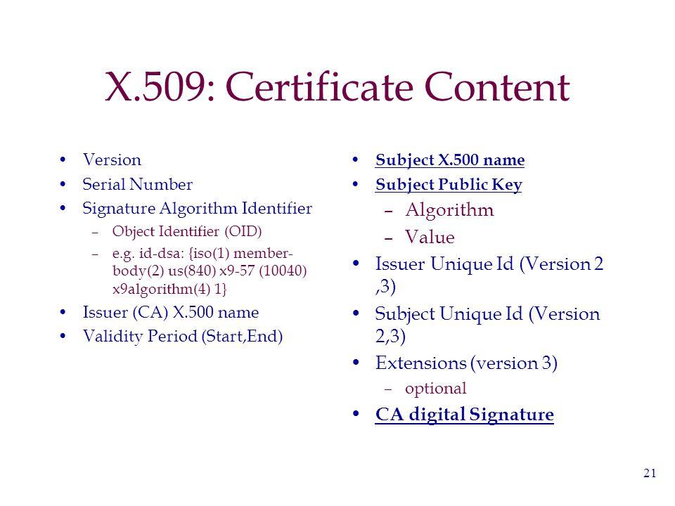 21 X.509: Certificate Content Version Serial Number Signature Algorithm Identifier –Object Identifier (OID) –e.g.
