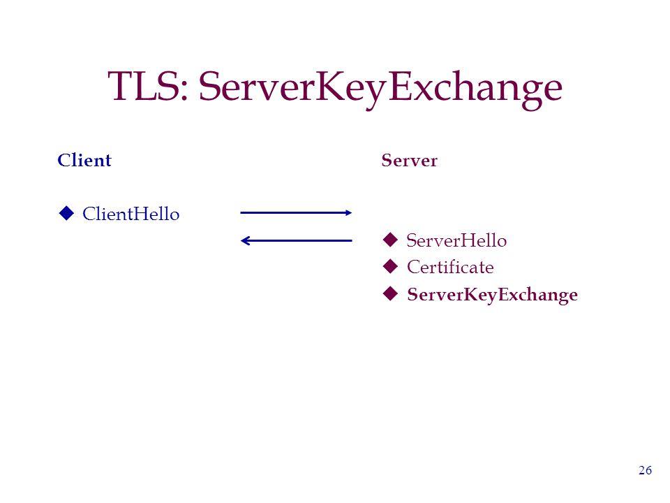 26 TLS: ServerKeyExchange Client  ClientHello Server  ServerHello  Certificate  ServerKeyExchange
