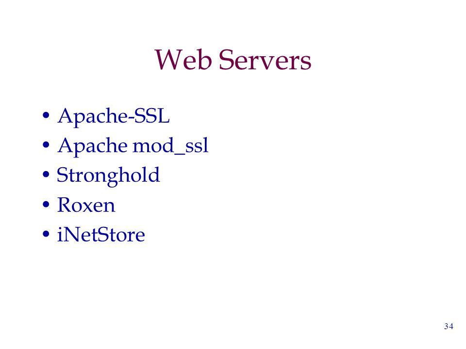 34 Web Servers Apache-SSL Apache mod_ssl Stronghold Roxen iNetStore