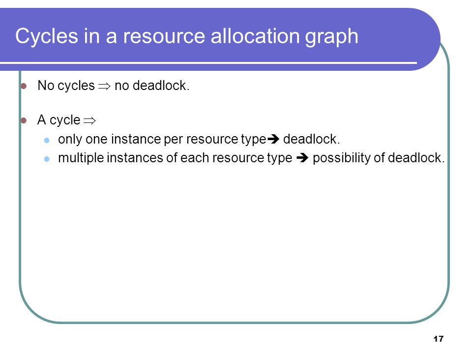 17 Cycles in a resource allocation graph No cycles  no deadlock.