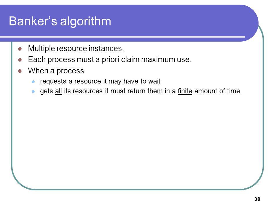 30 Banker's algorithm Multiple resource instances.