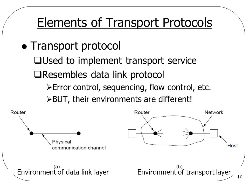 10 Elements of Transport Protocols l Transport protocol  Used to implement transport service  Resembles data link protocol  Error control, sequencing, flow control, etc.
