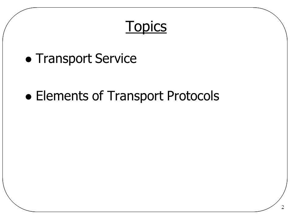 2 Topics l Transport Service l Elements of Transport Protocols