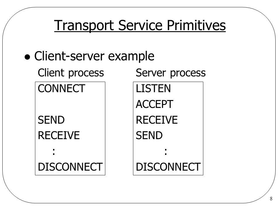 8 Transport Service Primitives l Client-server example Client processServer process CONNECTLISTEN ACCEPT SENDRECEIVE RECEIVESEND ::DISCONNECT