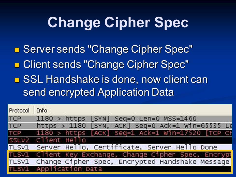 Change Cipher Spec Server sends