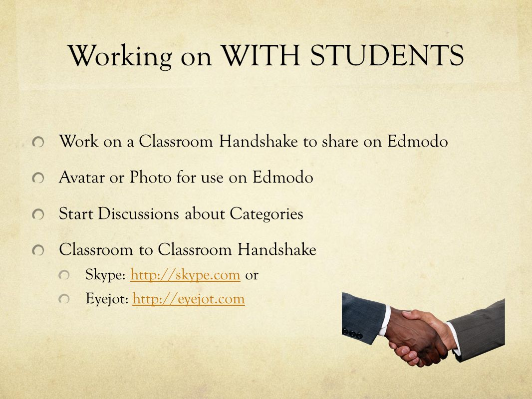 Working on WITH STUDENTS Work on a Classroom Handshake to share on Edmodo Avatar or Photo for use on Edmodo Start Discussions about Categories Classro