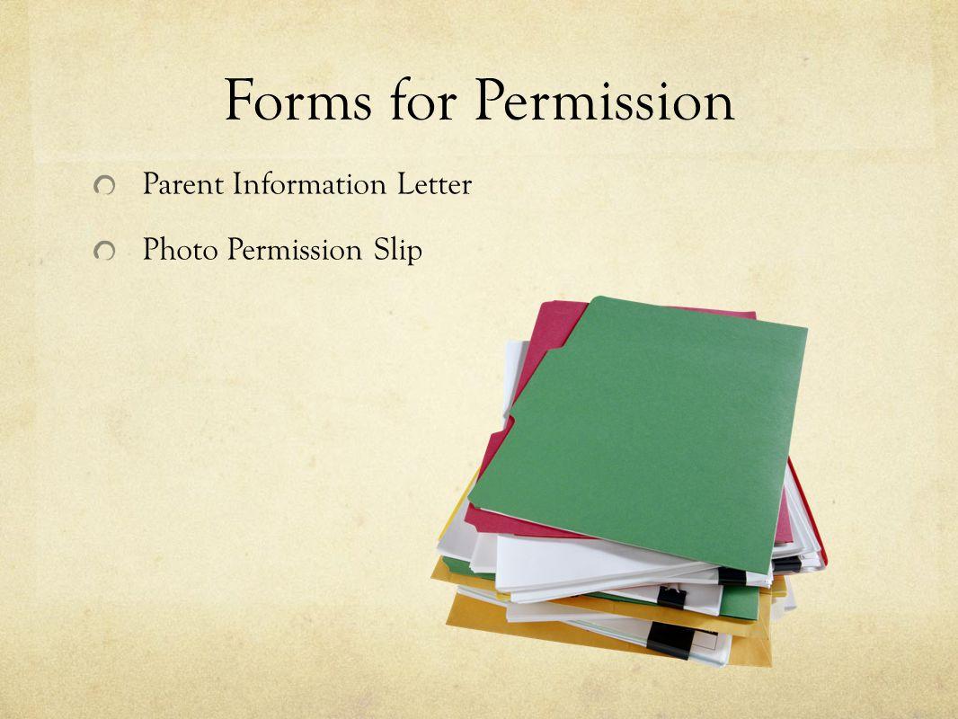 Forms for Permission Parent Information Letter Photo Permission Slip