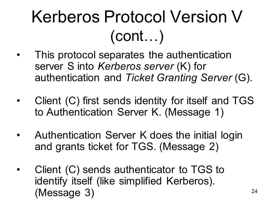 24 Kerberos Protocol Version V (cont…) This protocol separates the authentication server S into Kerberos server (K) for authentication and Ticket Granting Server (G).