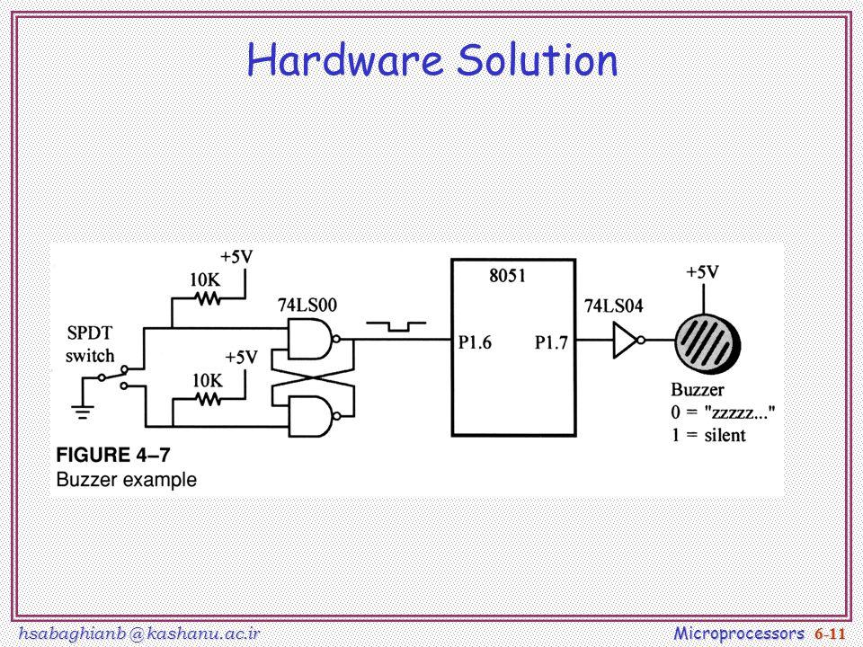 hsabaghianb @ kashanu.ac.ir Microprocessors 6-11 Hardware Solution