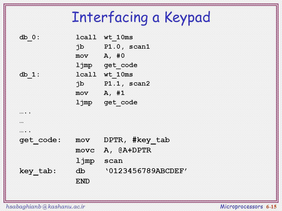 hsabaghianb @ kashanu.ac.ir Microprocessors 6-15 Interfacing a Keypad db_0:lcallwt_10ms jbP1.0, scan1 movA, #0 ljmpget_code db_1:lcallwt_10ms jbP1.1, scan2 movA, #1 ljmpget_code …..