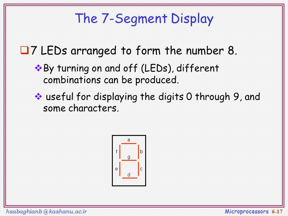 hsabaghianb @ kashanu.ac.ir Microprocessors 6-17 The 7-Segment Display  7 LEDs arranged to form the number 8.