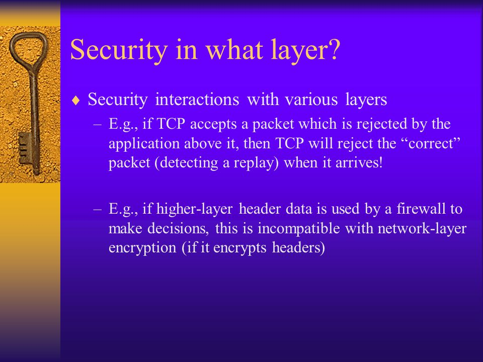 Security in what layer.