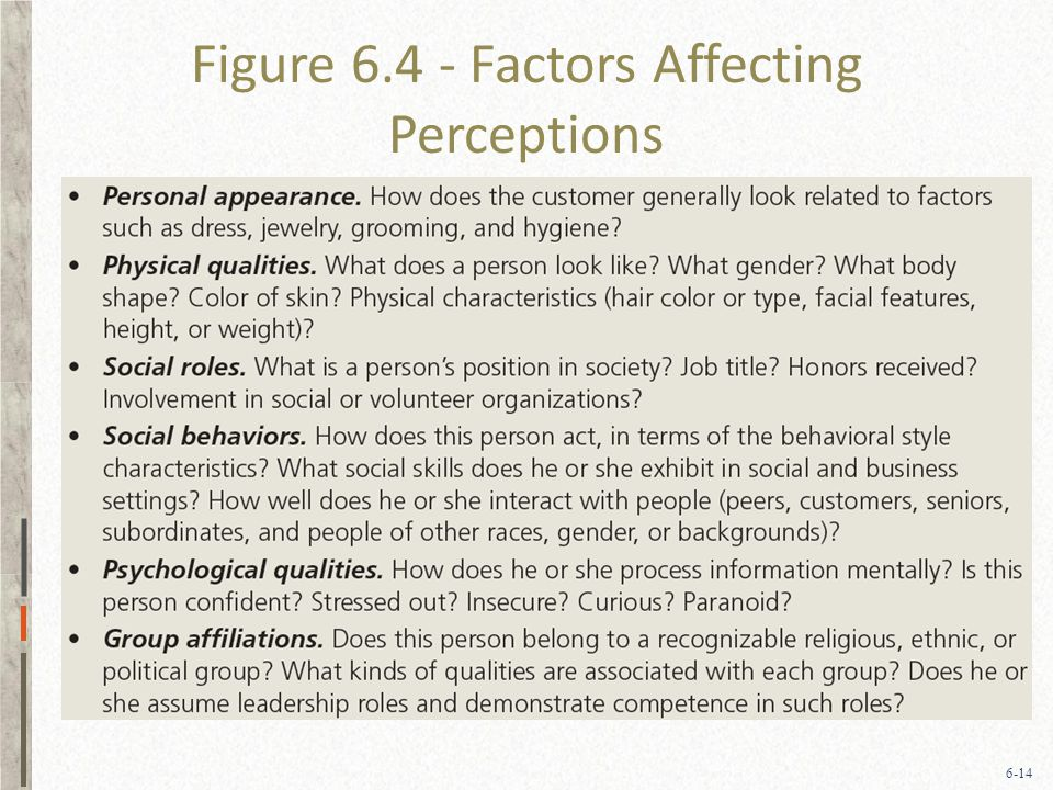 6-14 Figure 6.4 - Factors Affecting Perceptions