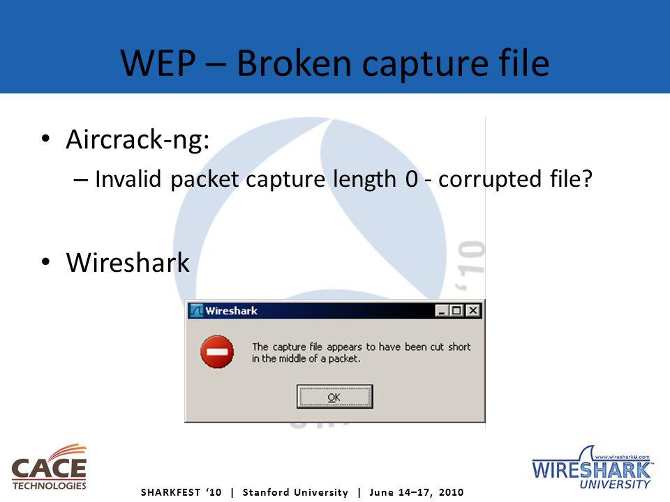 SHARKFEST '10 | Stanford University | June 14–17, 2010 WEP – Broken capture file Aircrack-ng: – Invalid packet capture length 0 - corrupted file.
