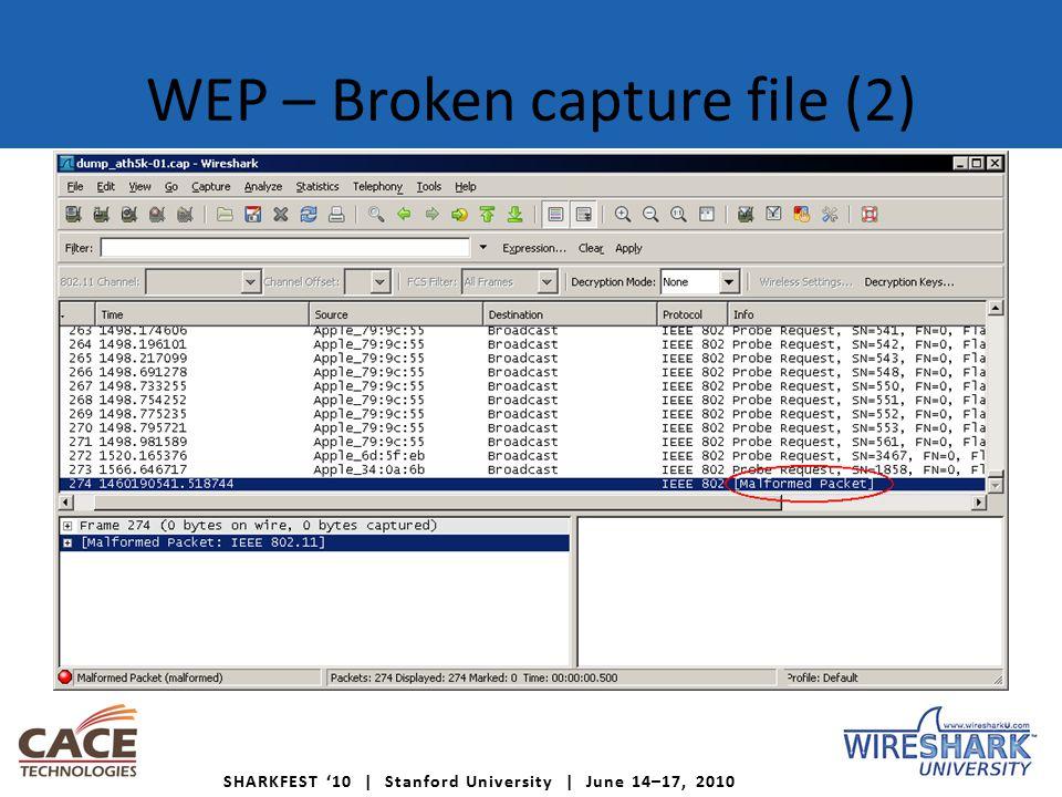 SHARKFEST '10 | Stanford University | June 14–17, 2010 WEP – Broken capture file (2)