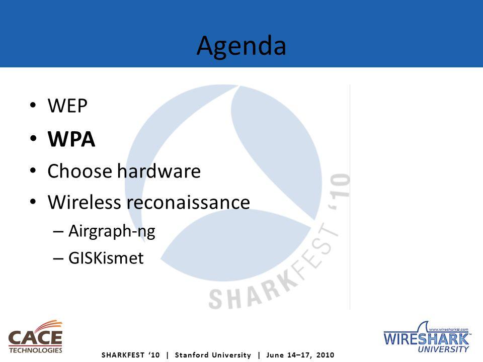 SHARKFEST '10 | Stanford University | June 14–17, 2010 Agenda WEP WPA Choose hardware Wireless reconaissance – Airgraph-ng – GISKismet