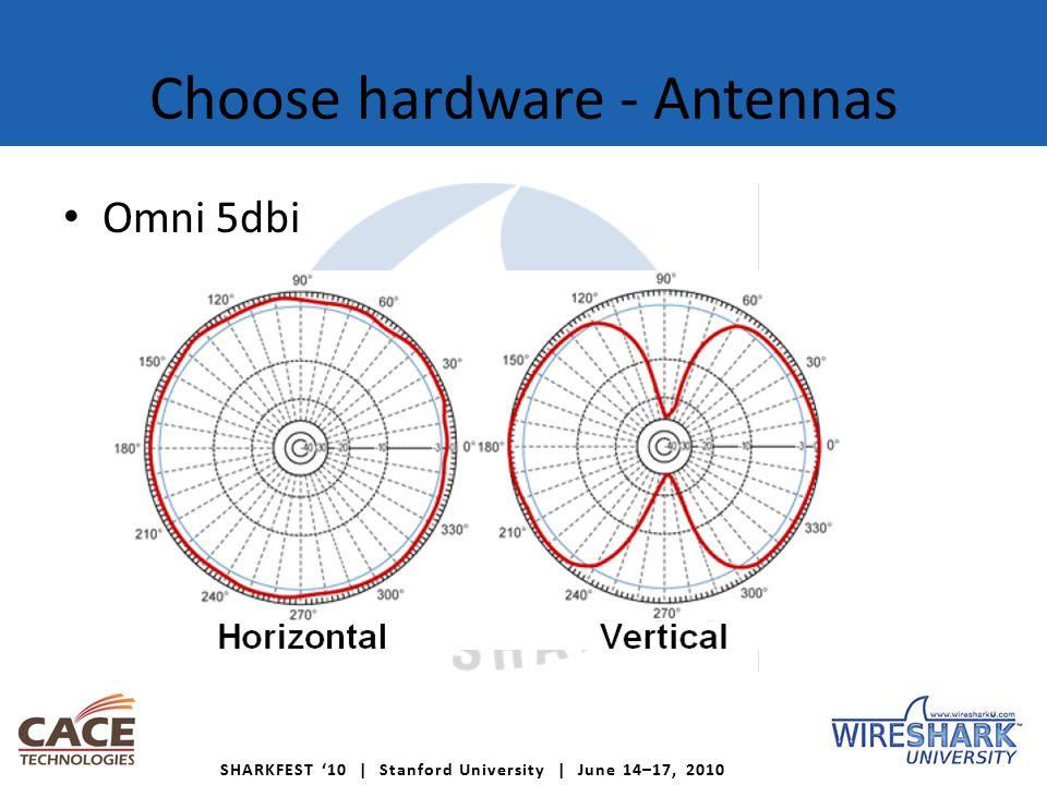 SHARKFEST '10 | Stanford University | June 14–17, 2010 Choose hardware - Antennas Omni 5dbi