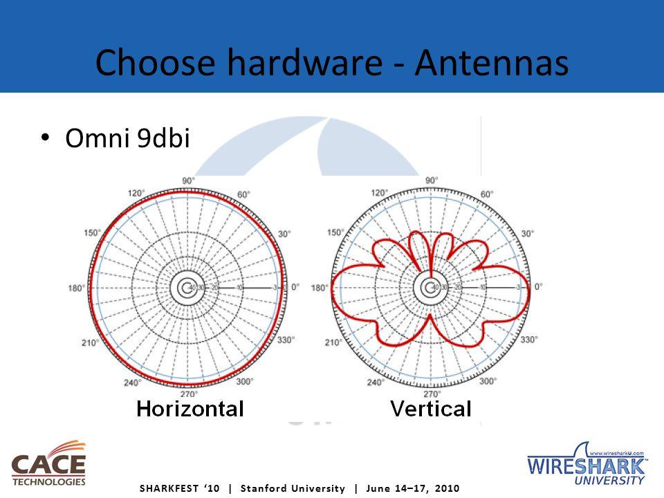 SHARKFEST '10 | Stanford University | June 14–17, 2010 Choose hardware - Antennas Omni 9dbi